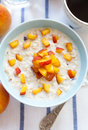 Porridge with peaches Royalty Free Stock Photography