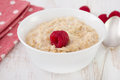 Porridge with raspberry Stock Photo