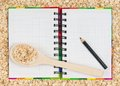 Porridge recipe notebook for the of on an oat background Stock Images