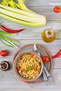 Porridge from Turkish couscous with beef and vegetables. Royalty Free Stock Photo