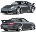 Porsche carrera illustration of a front and rear view Royalty Free Stock Photos