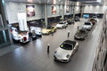 Porsche cars for sale in showroom lined up dealership Royalty Free Stock Photography