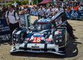 Porsche le mans france june hybrid sports prototype racing car at administrative checks and scrutineering at hours le mans race on Royalty Free Stock Photos
