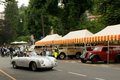 Porsche speedster at bergamo historic grand prix a silver turning before the tents of the paddock of colle aperto in citta alta Stock Photography