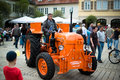 Porsche vintage tractor ludwigsburg germany may a classic model diesel super b from is presented during the emotionen show on the Royalty Free Stock Image