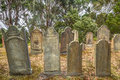 Port arthur isle of the dead old gravestones in located in harbor off tasman peninsula tasmania australia Royalty Free Stock Photography