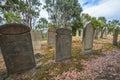 Port arthur isle of the dead old gravestones in located in harbor off tasman peninsula tasmania australia Royalty Free Stock Images