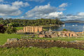 Port arthur panorama overlooking guard tower and penitententiary from behind in s historic convict settlement in the tasman Royalty Free Stock Images