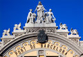 Port Authority Building Statues Barcelona Spain Stock Photo