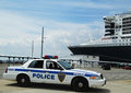 Port authority police new york new jersey providin city july providing security for queen mary cruise ship docked at brooklyn Royalty Free Stock Images