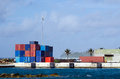 Port of avatiu island of rarotonga cook islands sep cargo containers in in on sep it s the international which handles Royalty Free Stock Photos
