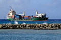 Port of avatiu island of rarotonga cook islands sep large cargo ship from new zealand arrive to in on sep it s the international Royalty Free Stock Photo