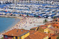 Port and beach of Menton in France Royalty Free Stock Photography