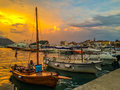 The port of Budva at sunset Royalty Free Stock Photo