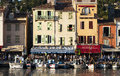 Port of cassis in france with small boats the foreground buildings the background Royalty Free Stock Photography