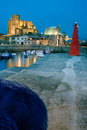 Port of Castro Urdiales getting dark Royalty Free Stock Photos