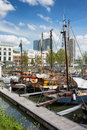 Port in the city centre of rotterdam sail boats moored at south holland netherlands Stock Photo