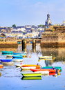 Port of concarneau brittany france colorful fishermen boats in little resort town in Royalty Free Stock Photography