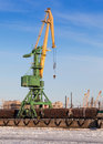Port crane cargo train port st petersburg russia Stock Photo
