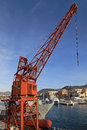 Port crane old red in of nice Royalty Free Stock Image