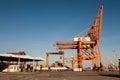 Port cranes shown horizontally Stock Image