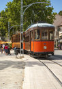 Port de soller the historical tram in in mallorca spain Stock Image