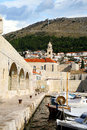 Port in dubrovnik croatia city harbor with cozy backyards famous old town fortress on the adriatic Stock Photography