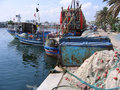 Port el kantaoui boats in the tunisia Stock Image