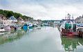 Port en bessin harbor scenic view of boats moored in normandy france Royalty Free Stock Photography