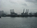 Port of Hong King in the mist and clouds