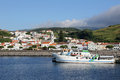 Port of horta on faial azores portugal view the the island Stock Photo