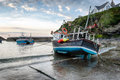 Port isaac harbour fishing boats in the at an historic fishing village on the north coast of cornwall Royalty Free Stock Photography