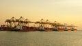 Port laem chabang thailand january sunset on on january in asia Stock Photos
