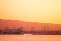 The Port of Long Beach at dusk, view from sea, USA Royalty Free Stock Photo