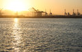 Port of long beach sunset the in southern california during Stock Photography