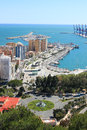 Port in malaga spain boats and building along the docks Stock Images