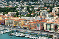 Port of nice cote d azur france may aerial view the harbor in villefranche sur mer and the city architecture on may in was built Stock Images