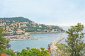 The port of nice france february castle hill is best viewpoint to surveythe lympia surrounded by green mountains on february in Royalty Free Stock Images