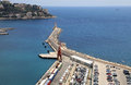 Port of nice french riviera france aerial view on and lighthouse Stock Image