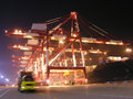 Port night in the busy chinese of qingdao Royalty Free Stock Photo