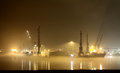 Port at night and fog ships in harbor of hamburg patch of Stock Photography
