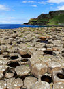 Port noffer and the towering antrim coastline from giants causeway northern ireland is Royalty Free Stock Images