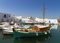 Port of parikia paros island greece view the on the Royalty Free Stock Images
