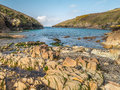 Port quin cornwall england view from the beach at north as the tide goes out Royalty Free Stock Photos