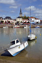 Port of saint gilles croix de vie in france with church the background commune the vendée department the pays la loire region Royalty Free Stock Image