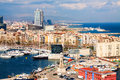 Port side of Barceloneta and Mediterranean Royalty Free Stock Photo