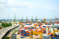 Port of singapore panoramic view industrial Stock Photos