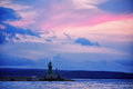 Port in split with sunset sky croatia and lighthouse Royalty Free Stock Images