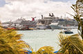 Port of st maarten philipsburg jan numerous cruise ships anchored in the a popular cruise destination for cruise ships Royalty Free Stock Photo