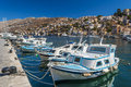 Port of symi view from island dodekanisa greece Stock Photo